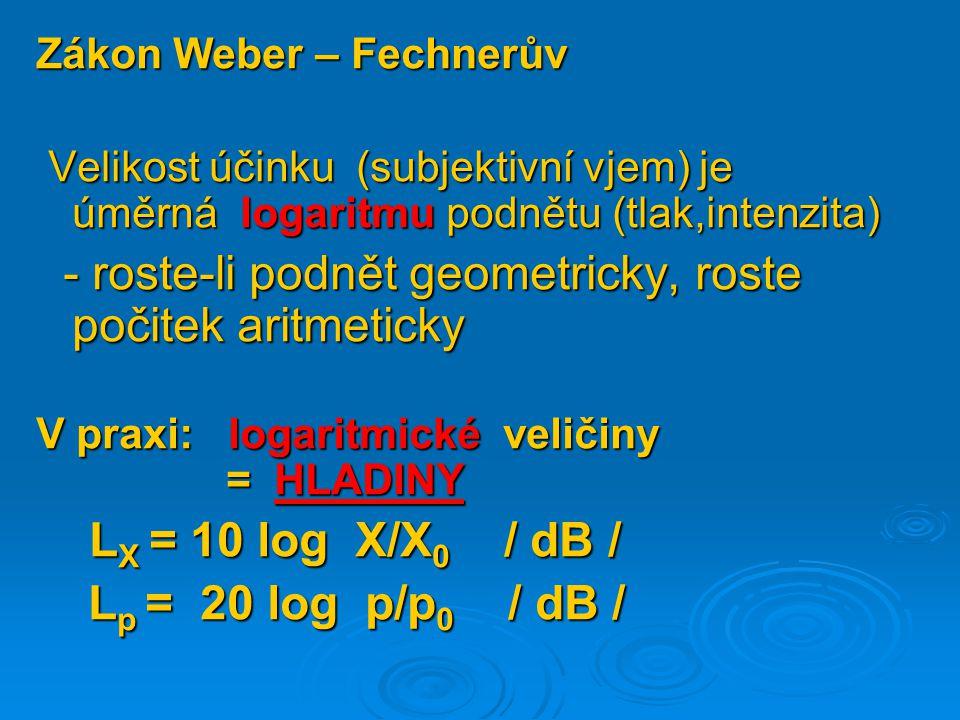 Zákon Weber – Fechnerův Velikost účinku (subjektivní vjem) je úměrná logaritmu podnětu (tlak,intenzita) Velikost účinku (subjektivní vjem) je úměrná l