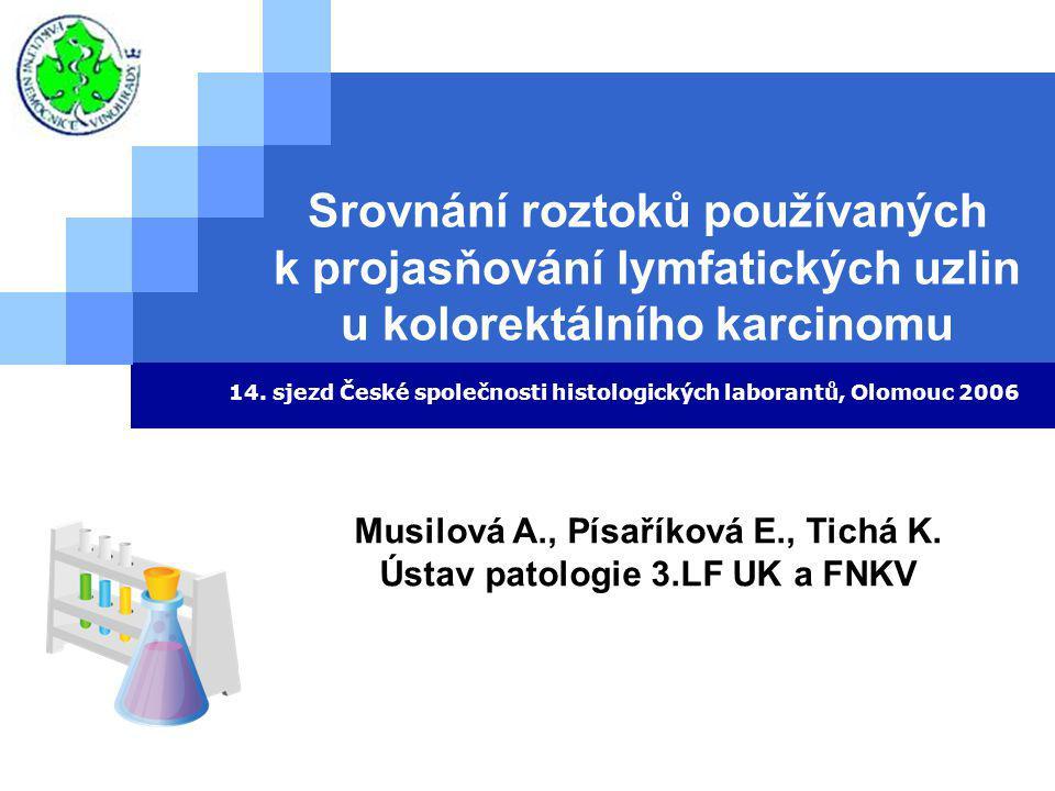 Srovnání roztoků používaných k projasňování lymfatických uzlin u kolorektálního karcinomu 14.