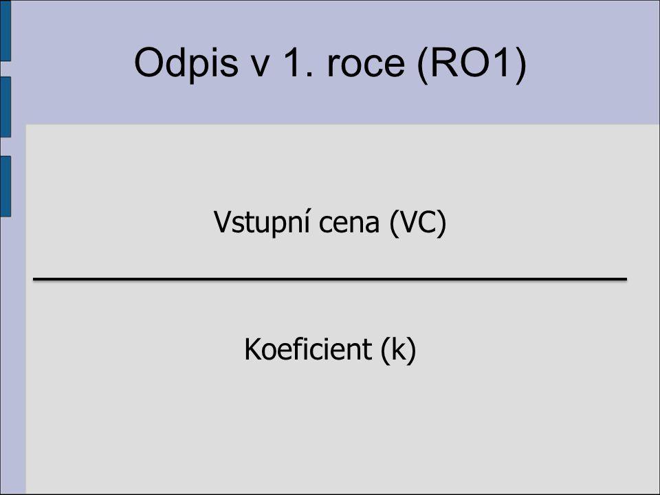 Odpis v 1. roce (RO1) Vstupní cena (VC) Koeficient (k)
