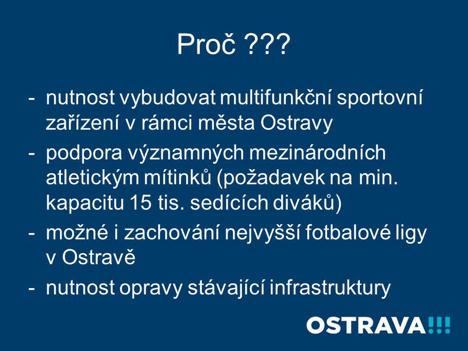 Proč ??? -nutnost vybudovat multifunkční sportovní zařízení v rámci města Ostravy -podpora významných mezinárodních atletickým mítinků (požadavek na m