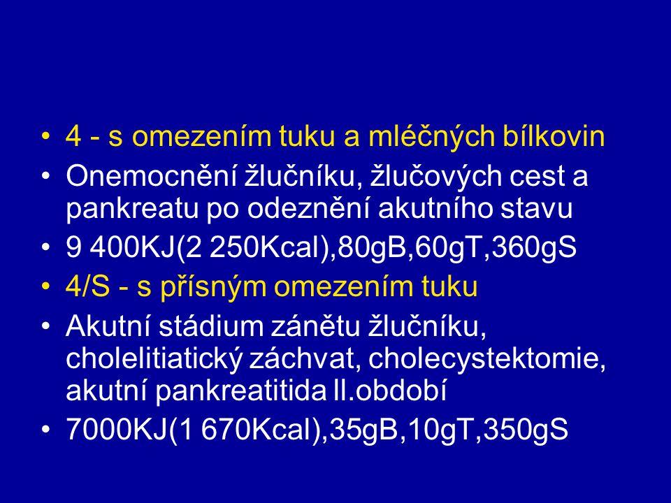 4 - s omezením tuku a mléčných bílkovin Onemocnění žlučníku, žlučových cest a pankreatu po odeznění akutního stavu 9 400KJ(2 250Kcal),80gB,60gT,360gS
