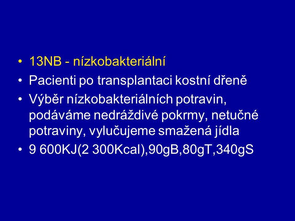 13NB - nízkobakteriální Pacienti po transplantaci kostní dřeně Výběr nízkobakteriálních potravin, podáváme nedráždivé pokrmy, netučné potraviny, vyluč