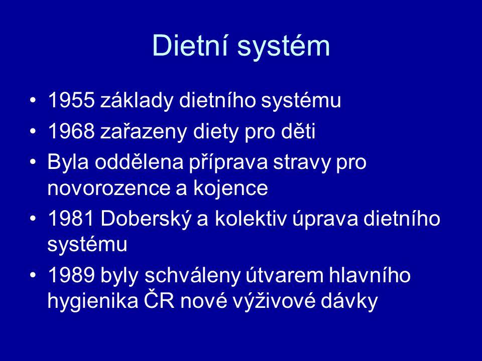 Dietní systém 1955 základy dietního systému 1968 zařazeny diety pro děti Byla oddělena příprava stravy pro novorozence a kojence 1981 Doberský a kolek