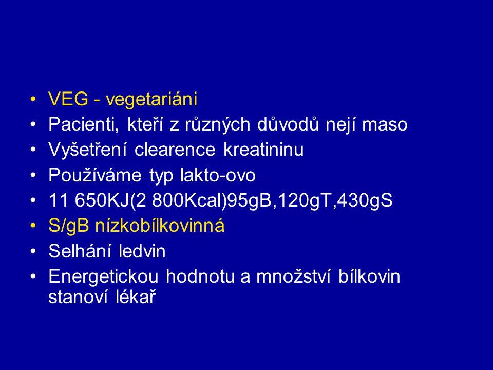 VEG - vegetariáni Pacienti, kteří z různých důvodů nejí maso Vyšetření clearence kreatininu Používáme typ lakto-ovo 11 650KJ(2 800Kcal)95gB,120gT,430g