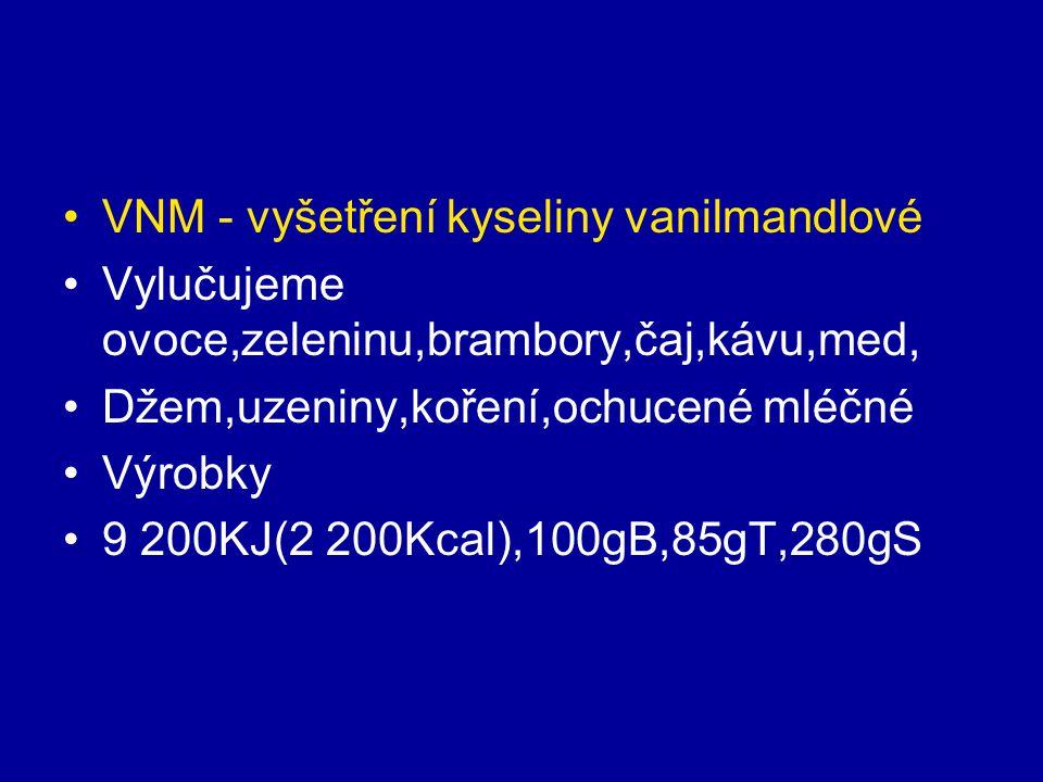 VNM - vyšetření kyseliny vanilmandlové Vylučujeme ovoce,zeleninu,brambory,čaj,kávu,med, Džem,uzeniny,koření,ochucené mléčné Výrobky 9 200KJ(2 200Kcal)
