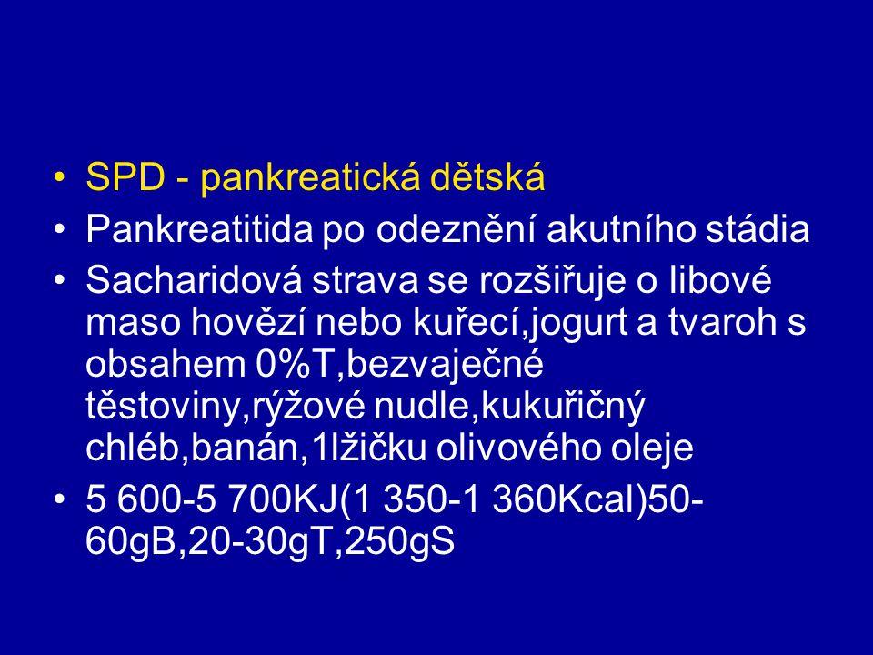SPD - pankreatická dětská Pankreatitida po odeznění akutního stádia Sacharidová strava se rozšiřuje o libové maso hovězí nebo kuřecí,jogurt a tvaroh s