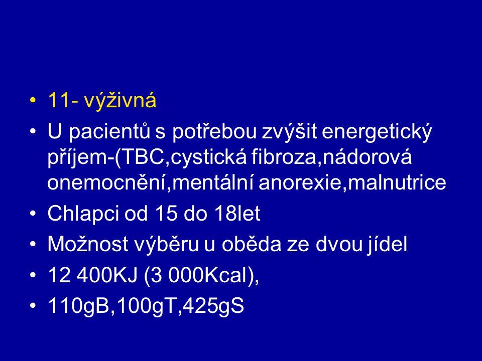 11- výživná U pacientů s potřebou zvýšit energetický příjem-(TBC,cystická fibroza,nádorová onemocnění,mentální anorexie,malnutrice Chlapci od 15 do 18