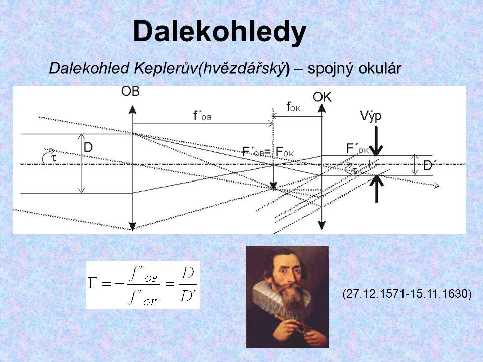Dalekohledy Dalekohled Keplerův(hvězdářský) – spojný okulár (27.12.1571-15.11.1630)