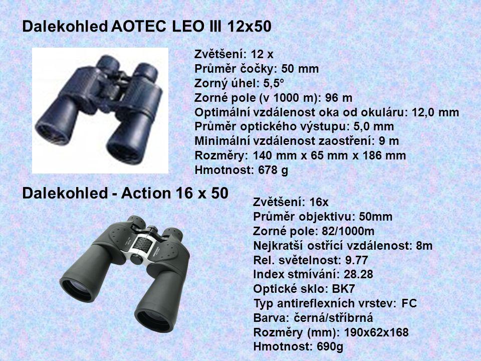 Dalekohled AOTEC LEO III 12x50 Zvětšení: 12 x Průměr čočky: 50 mm Zorný úhel: 5,5° Zorné pole (v 1000 m): 96 m Optimální vzdálenost oka od okuláru: 12