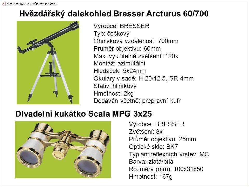 Hvězdářský dalekohled Bresser Arcturus 60/700 Výrobce: BRESSER Typ: čočkový Ohnisková vzdálenost: 700mm Průměr objektivu: 60mm Max. využitelné zvětšen