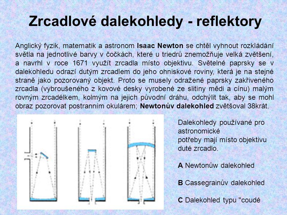 Zrcadlové dalekohledy - reflektory Anglický fyzik, matematik a astronom Isaac Newton se chtěl vyhnout rozkládání světla na jednotlivé barvy v čočkách,