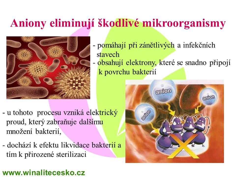 Aniony eliminují škodlivé mikroorganismy - obsahují elektrony, které se snadno připojí k povrchu bakterií - u tohoto procesu vzniká elektrický proud,