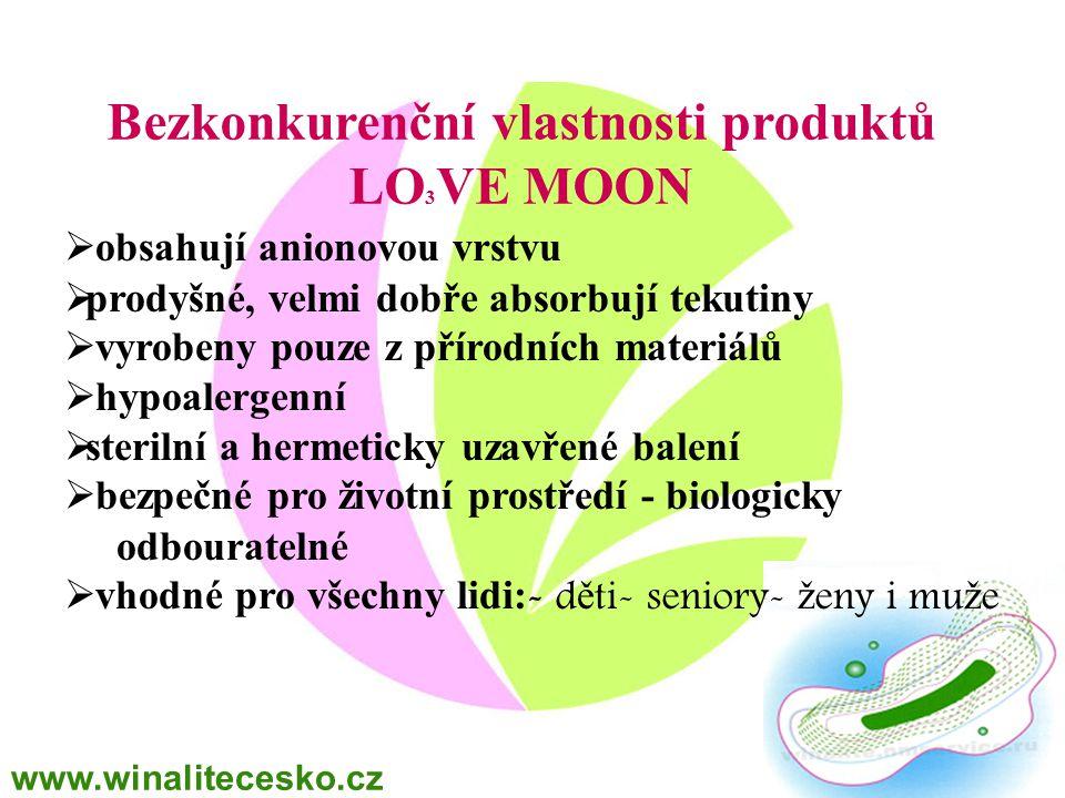 Bezkonkurenční vlastnosti produktů LO 3 VE MOON  obsahují anionovou vrstvu  prodyšné, velmi dobře absorbují tekutiny  vyrobeny pouze z přírodních m