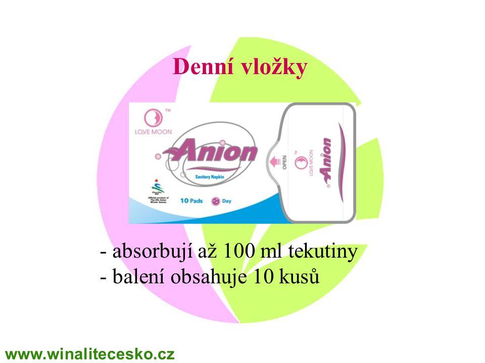 Denní vložky - absorbují až 100 ml tekutiny - balení obsahuje 10 kusů www.winalitecesko.cz