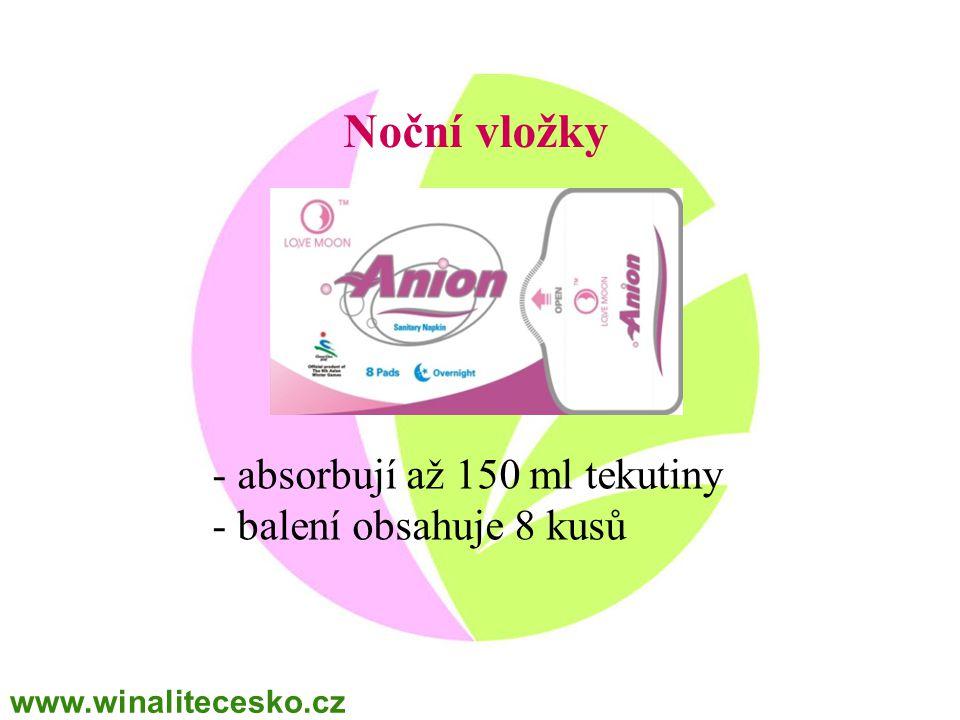 Noční vložky - absorbují až 150 ml tekutiny - balení obsahuje 8 kusů www.winalitecesko.cz