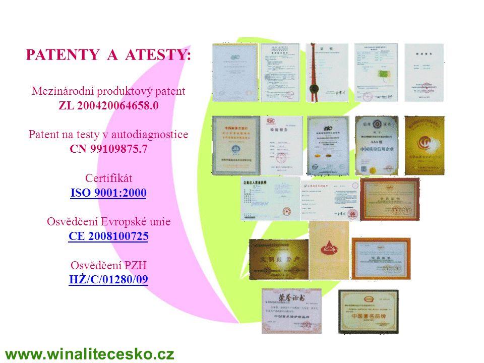 PATENTY A ATESTY: Mezinárodní produktový patent ZL 200420064658.0 Patent na testy v autodiagnostice CN 99109875.7 Certifikát ISO 9001:2000 ISO 9001:20