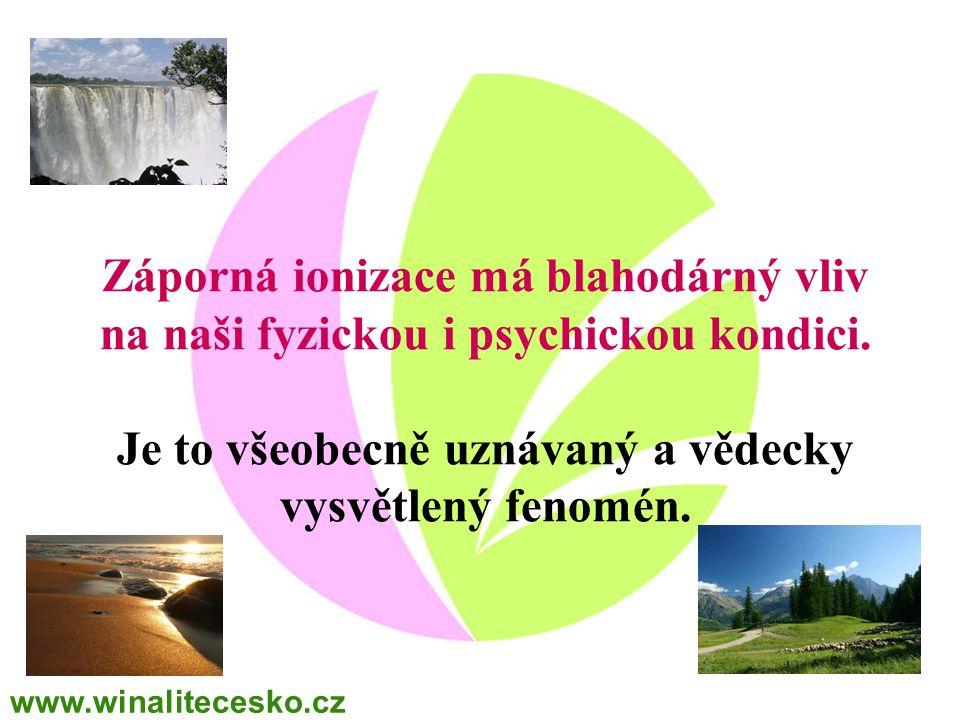 Záporná ionizace má blahodárný vliv na naši fyzickou i psychickou kondici. Je to všeobecně uznávaný a vědecky vysvětlený fenomén. www.winalitecesko.cz