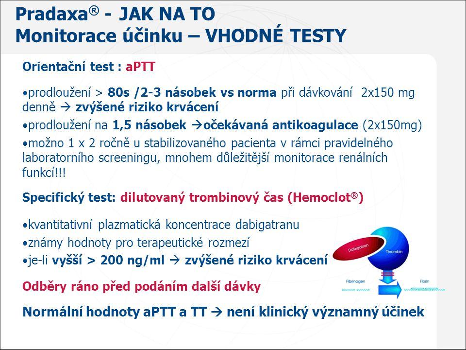 Orientační test : aPTT prodloužení > 80s /2-3 násobek vs norma při dávkování 2x150 mg denně  zvýšené riziko krvácení prodloužení na 1,5 násobek  oče