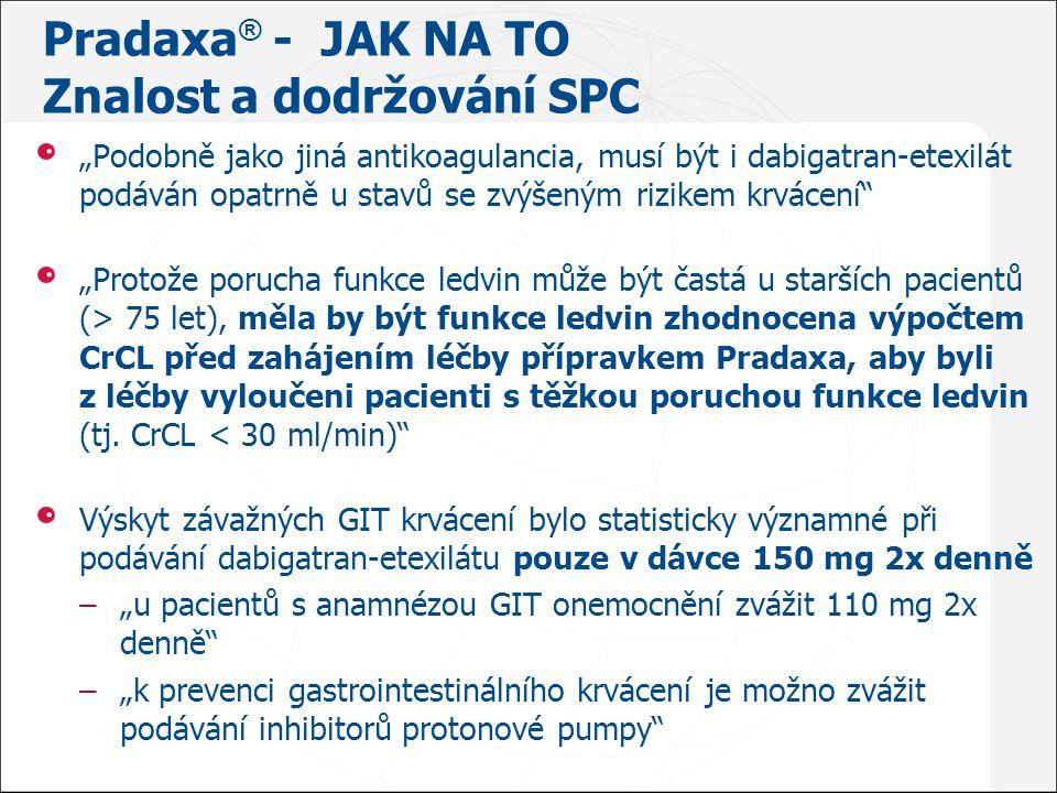 """Pradaxa ® - JAK NA TO Znalost a dodržování SPC """"Podobně jako jiná antikoagulancia, musí být i dabigatran ‑ etexilát podáván opatrně u stavů se zvýšený"""