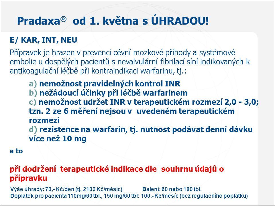 Pradaxa ® od 1. května s ÚHRADOU! E/ KAR, INT, NEU Přípravek je hrazen v prevenci cévní mozkové příhody a systémové embolie u dospělých pacientů s nev