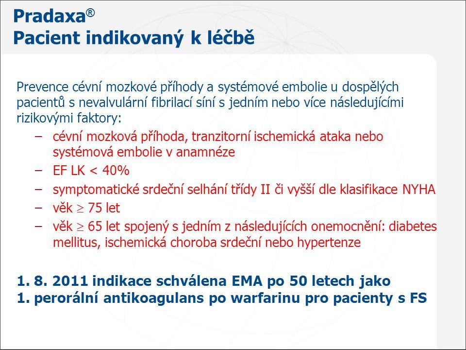 Doporučená denní dávka: 150 mg 2x denně 4 Pradaxa ® 110 mg 2 x denně musí –pacienti ≥80 let –pacienti současně užívající verapamil 4 Pradaxa ® 110 mg 2 x denně zvážit u pacientů s vysokým rizikem krvácení 1.