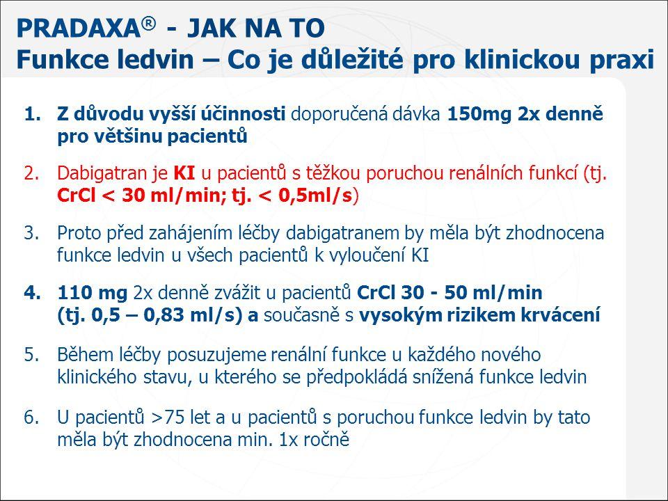 Stejná opatření jako u pacientu léčených warfarinem výjimkou podávání vitamínu K Přerušit léčbu – kdy užita poslední dávka - koagulační testy – aPTT, TT Zjistit zdroj krvácení – chirurgická zástava Náhrada krevních ztrát – hemodynamická podpora Zachování diurézy Celková hemostatika – krevní deriváty Dialýza 1,2 Pradaxa ® - JAK NA TO Krvácení - Jak postupovat 1.