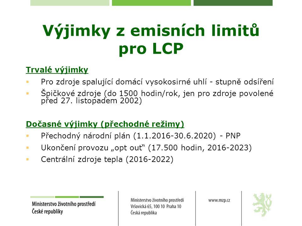Výjimky z emisních limitů pro LCP Trvalé výjimky  Pro zdroje spalující domácí vysokosirné uhlí - stupně odsíření  Špičkové zdroje (do 1500 hodin/rok