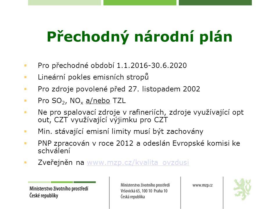 Přechodný národní plán  Pro přechodné období 1.1.2016-30.6.2020  Lineární pokles emisních stropů  Pro zdroje povolené před 27. listopadem 2002  Pr