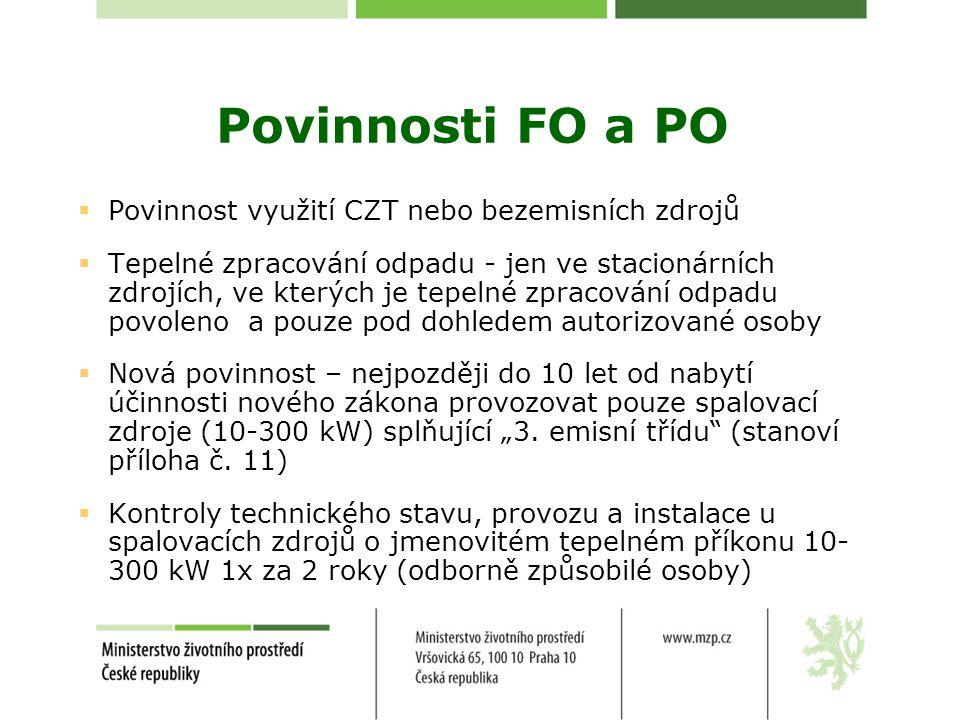 Povinnosti FO a PO  Povinnost využití CZT nebo bezemisních zdrojů  Tepelné zpracování odpadu - jen ve stacionárních zdrojích, ve kterých je tepelné