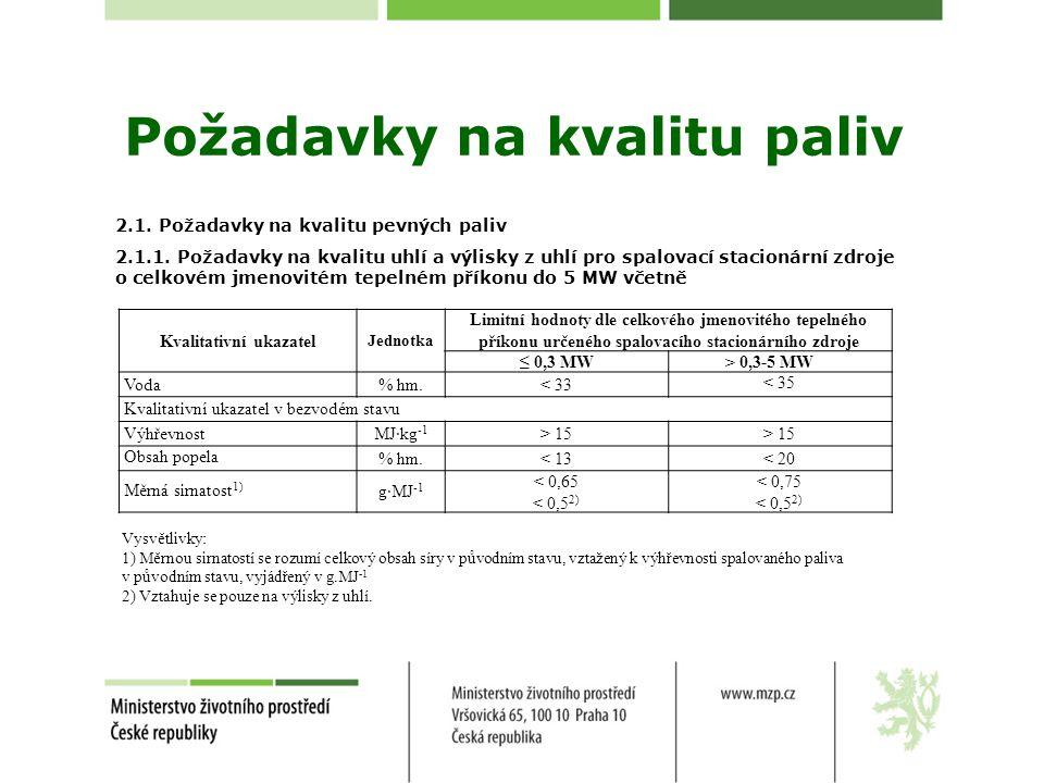 Požadavky na kvalitu paliv 2.1. Požadavky na kvalitu pevných paliv 2.1.1. Požadavky na kvalitu uhlí a výlisky z uhlí pro spalovací stacionární zdroje