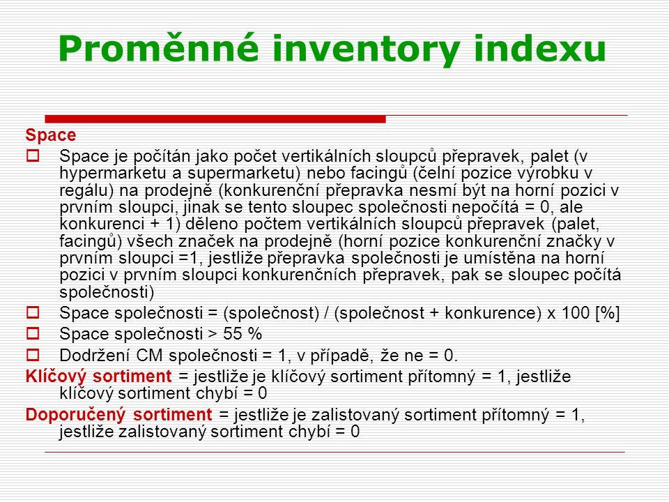 Proměnné inventory indexu Space  Space je počítán jako počet vertikálních sloupců přepravek, palet (v hypermarketu a supermarketu) nebo facingů (čeln
