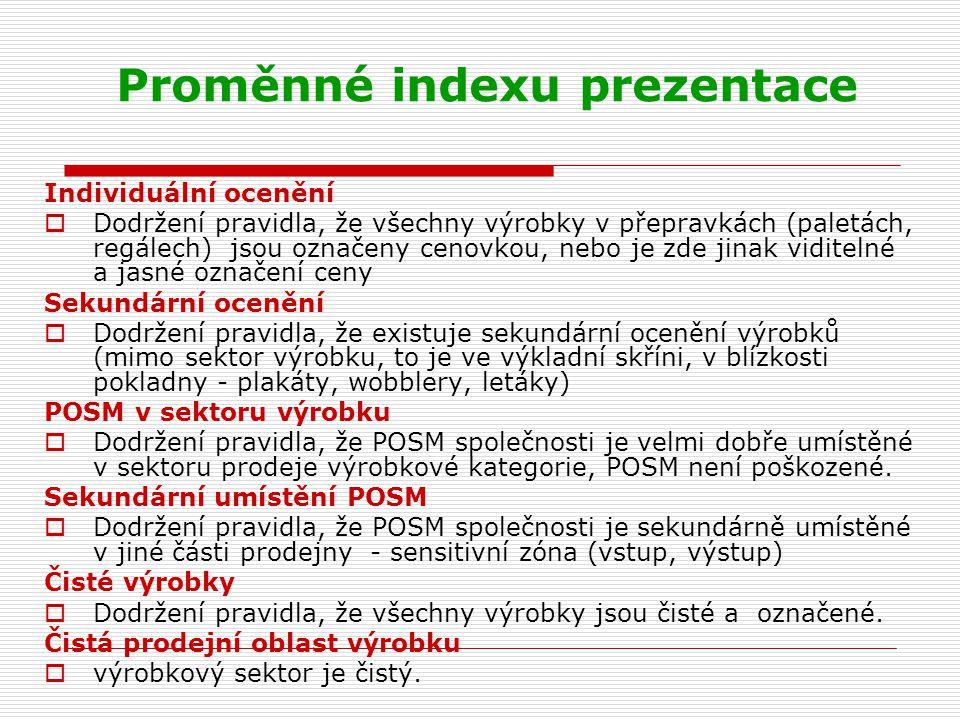 Proměnné indexu prezentace Individuální ocenění  Dodržení pravidla, že všechny výrobky v přepravkách (paletách, regálech) jsou označeny cenovkou, neb
