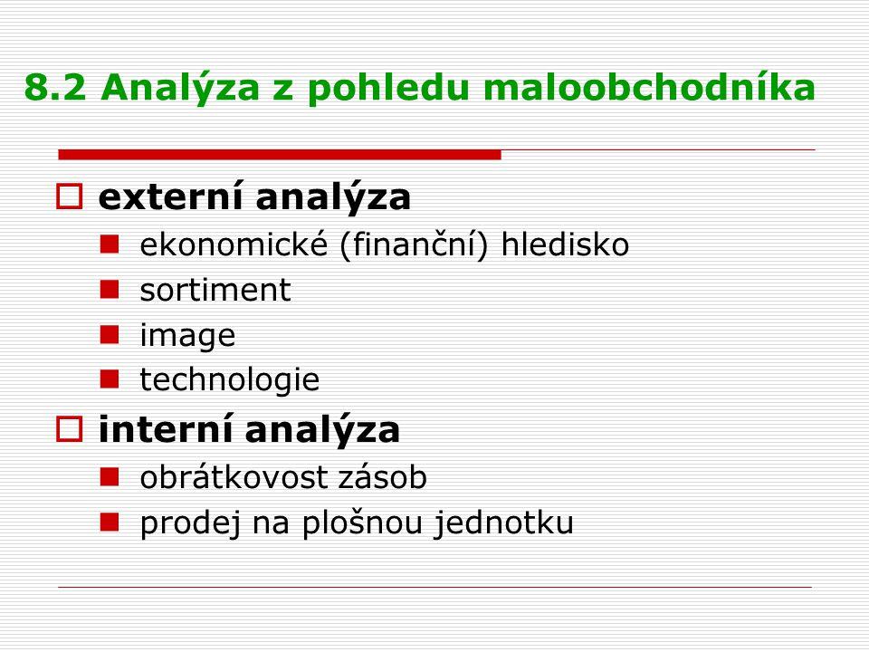 8.2 Analýza z pohledu maloobchodníka  externí analýza ekonomické (finanční) hledisko sortiment image technologie  interní analýza obrátkovost zásob