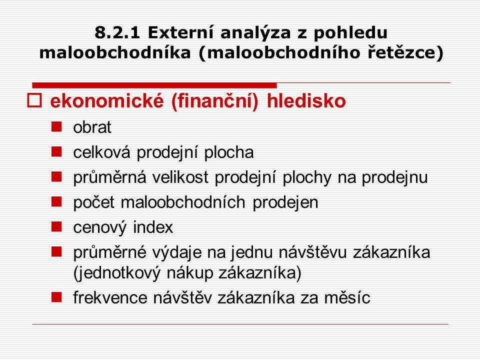 8.2.1 Externí analýza z pohledu maloobchodníka (maloobchodního řetězce)  ekonomické (finanční) hledisko obrat celková prodejní plocha průměrná veliko