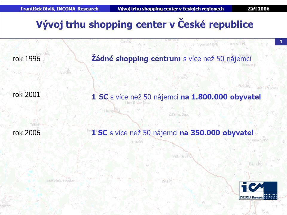 Září 2006 František Diviš, INCOMA ResearchVývoj trhu shopping center v českých regionech 1 Vývoj trhu shopping center v České republice rok 1996 rok 2001 rok 2006 Žádné shopping centrum s více než 50 nájemci 1 SC s více než 50 nájemci na 1.800.000 obyvatel 1 SC s více než 50 nájemci na 350.000 obyvatel