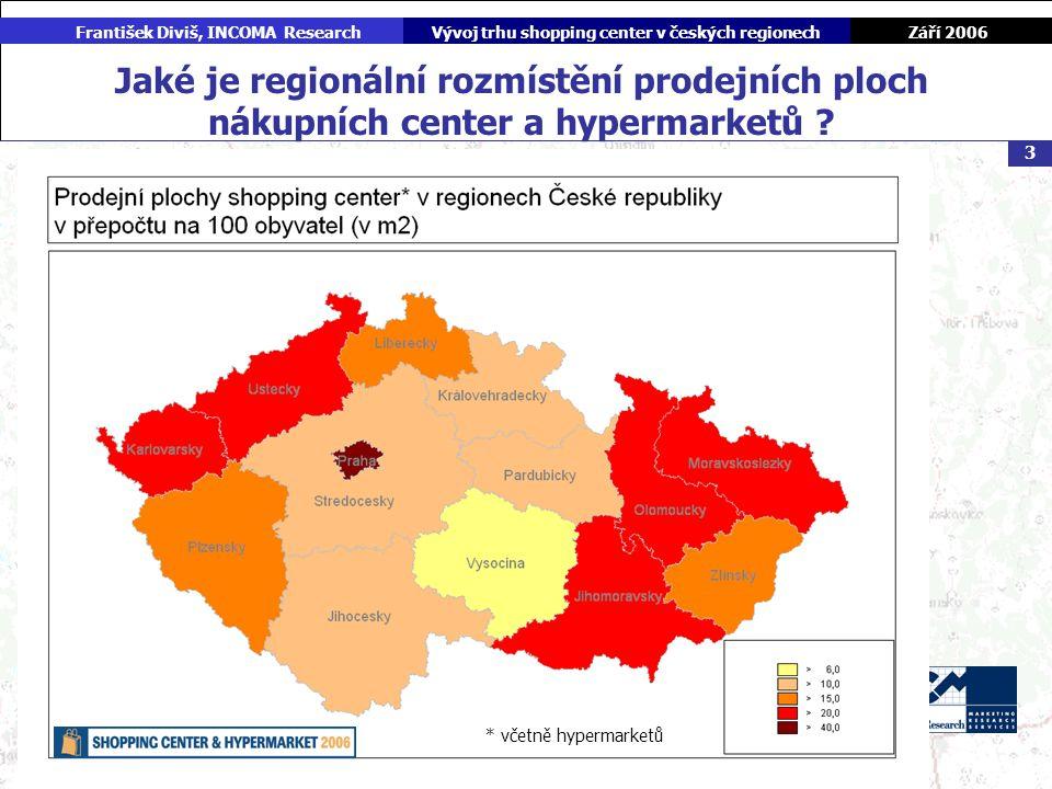 Září 2006 František Diviš, INCOMA ResearchVývoj trhu shopping center v českých regionech 3 Jaké je regionální rozmístění prodejních ploch nákupních center a hypermarketů .