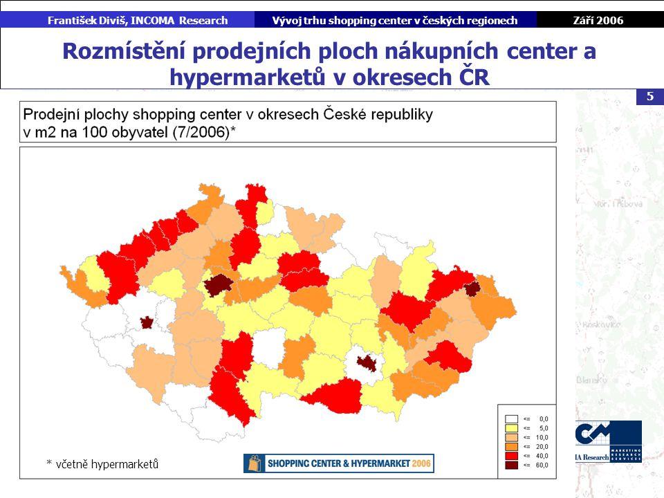 Září 2006 František Diviš, INCOMA ResearchVývoj trhu shopping center v českých regionech 5 Rozmístění prodejních ploch nákupních center a hypermarketů