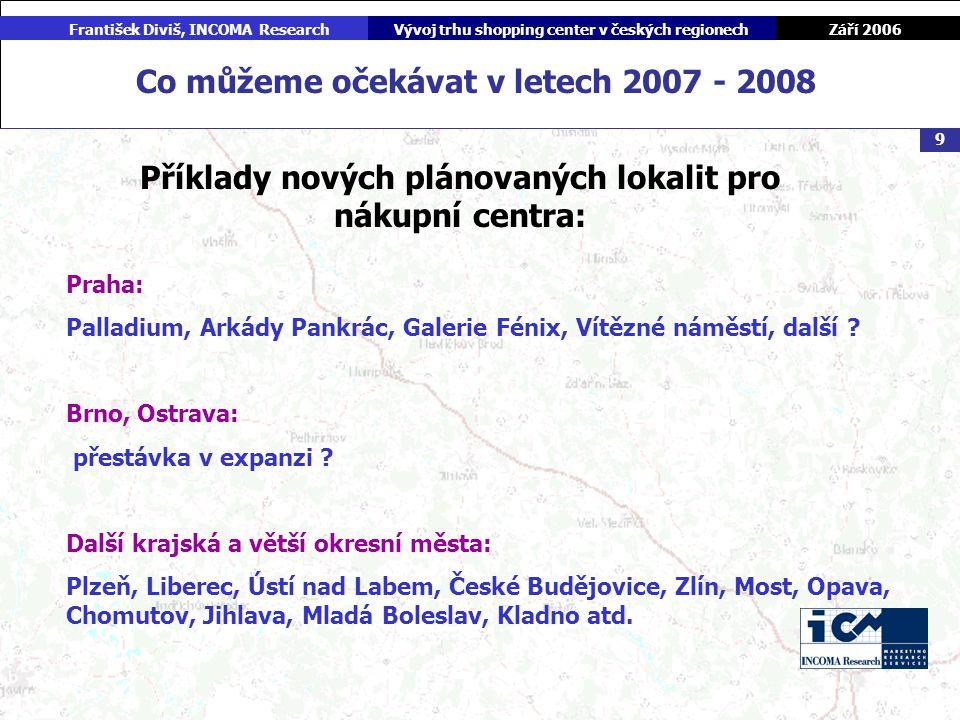 Září 2006 František Diviš, INCOMA ResearchVývoj trhu shopping center v českých regionech 9 Co můžeme očekávat v letech 2007 - 2008 Příklady nových plánovaných lokalit pro nákupní centra: Praha: Palladium, Arkády Pankrác, Galerie Fénix, Vítězné náměstí, další .