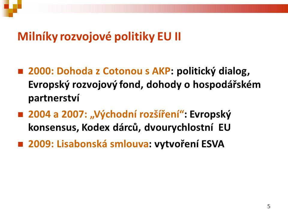 """Milníky rozvojové politiky EU II 2000: Dohoda z Cotonou s AKP: politický dialog, Evropský rozvojový fond, dohody o hospodářském partnerství 2004 a 2007: """"Východní rozšíření : Evropský konsensus, Kodex dárců, dvourychlostní EU 2009: Lisabonská smlouva: vytvoření ESVA 5"""