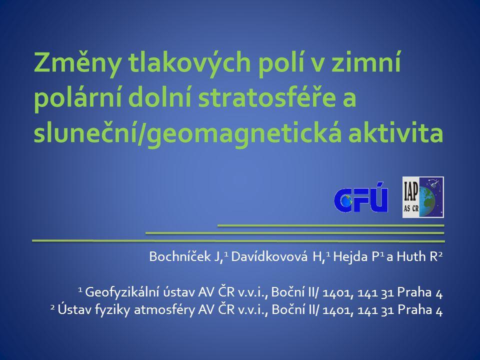 POZDNÍ ZIMA, stratosféra (50 hPa) Geomagnetická aktivitaSluneční aktivita