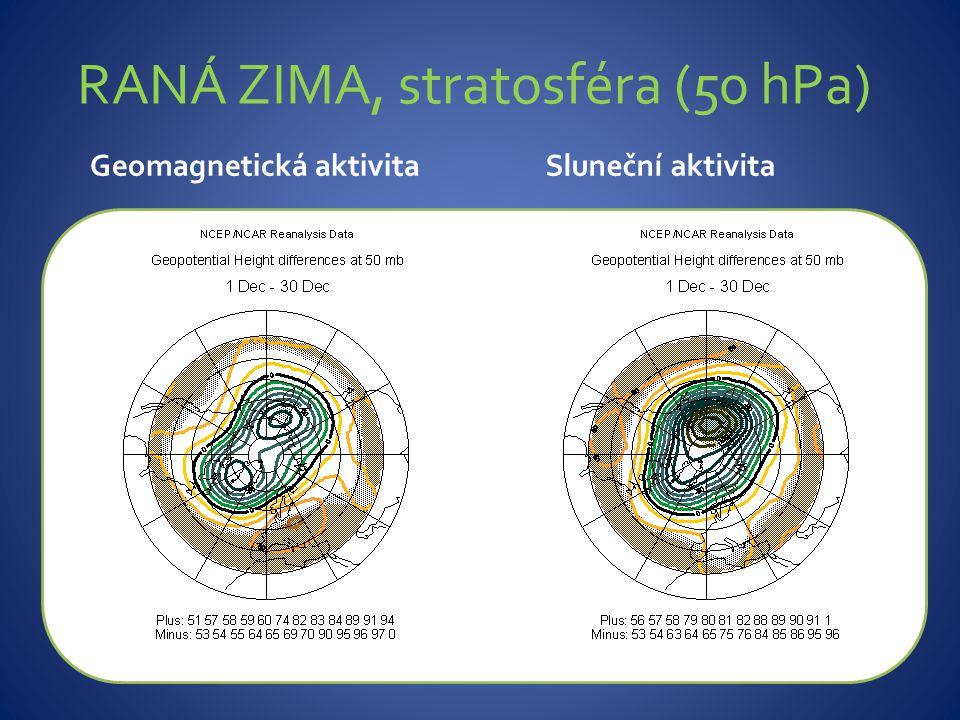 Geomagnetická aktivitaSluneční aktivita RANÁ ZIMA, stratosféra (50 hPa)