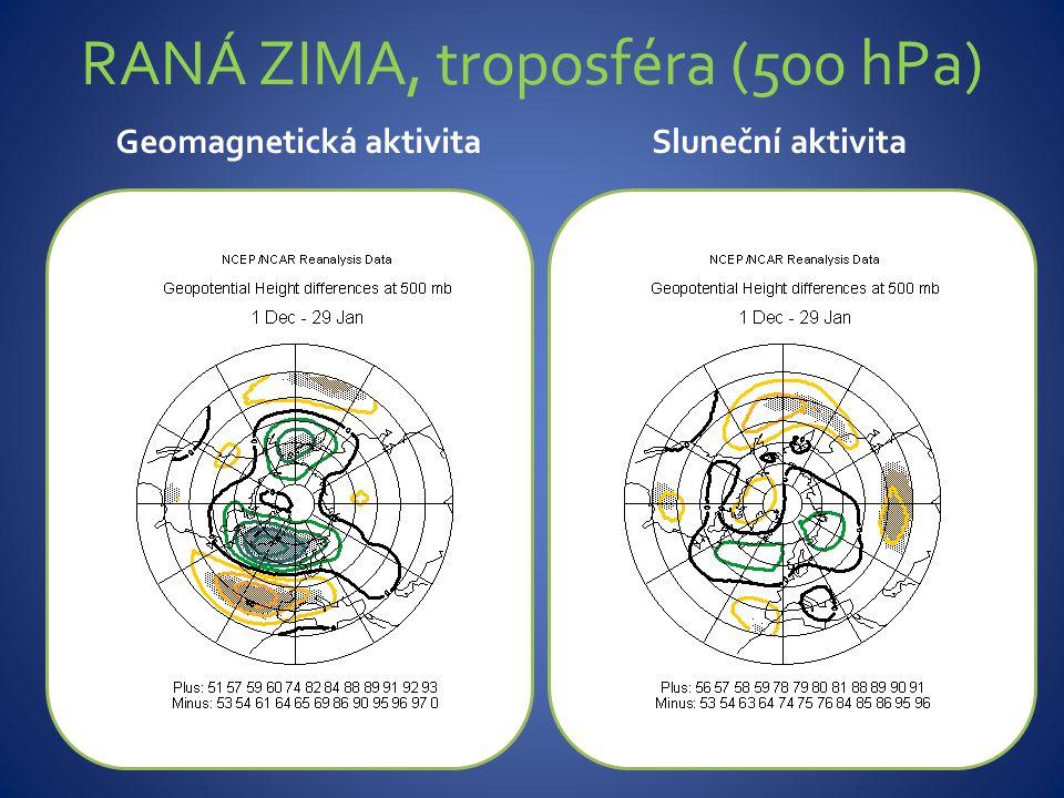 RANÁ ZIMA, troposféra (500 hPa) Geomagnetická aktivitaSluneční aktivita