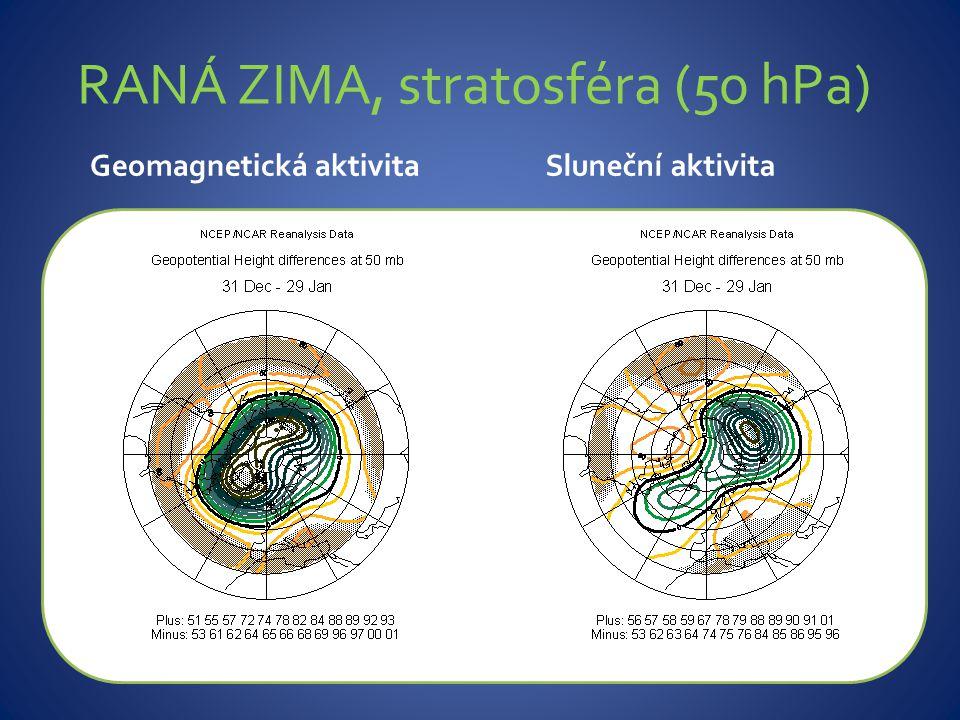 ZÁVĚR Pozdní zima (únor-březen) Dolní stratosféra – vysoká sluneční/geomagnetická aktivita – signifikantní změny:  Nesouvislý vzestup tlaku v nízkých šířkách Troposféra – vysoká sluneční aktivita - signifikantní uspořádání tlakových polí  Kladná fáze NAO  Výrazná Pacifická dekadická oscilace Troposféra – vysoká geomagnetická aktivita – signifikantní uspořádání tlakových polí:  Kladná fáze NAO  Posun kladné anomálie vyskytující se nad východním Atlantikem severovýchodním směrem