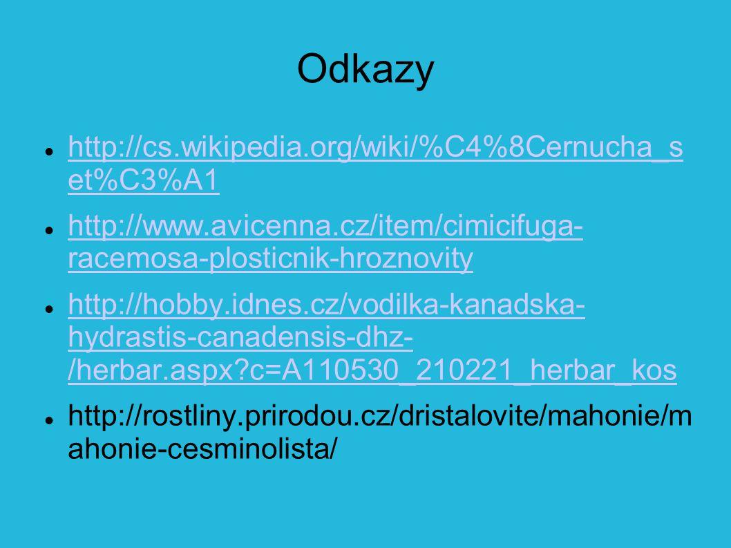 Odkazy http://cs.wikipedia.org/wiki/%C4%8Cernucha_s et%C3%A1 http://cs.wikipedia.org/wiki/%C4%8Cernucha_s et%C3%A1 http://www.avicenna.cz/item/cimicifuga- racemosa-plosticnik-hroznovity http://www.avicenna.cz/item/cimicifuga- racemosa-plosticnik-hroznovity http://hobby.idnes.cz/vodilka-kanadska- hydrastis-canadensis-dhz- /herbar.aspx?c=A110530_210221_herbar_kos http://hobby.idnes.cz/vodilka-kanadska- hydrastis-canadensis-dhz- /herbar.aspx?c=A110530_210221_herbar_kos http://rostliny.prirodou.cz/dristalovite/mahonie/m ahonie-cesminolista/