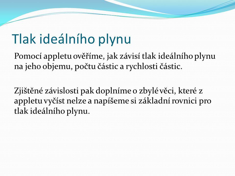 Tlak ideálního plynu Úkol : 1) Pusťte si applet na adrese: http://fyzweb.cz/materialy/aplety_hwang/ideal_gas/idealGas/idealGas_cz.htm l [14.