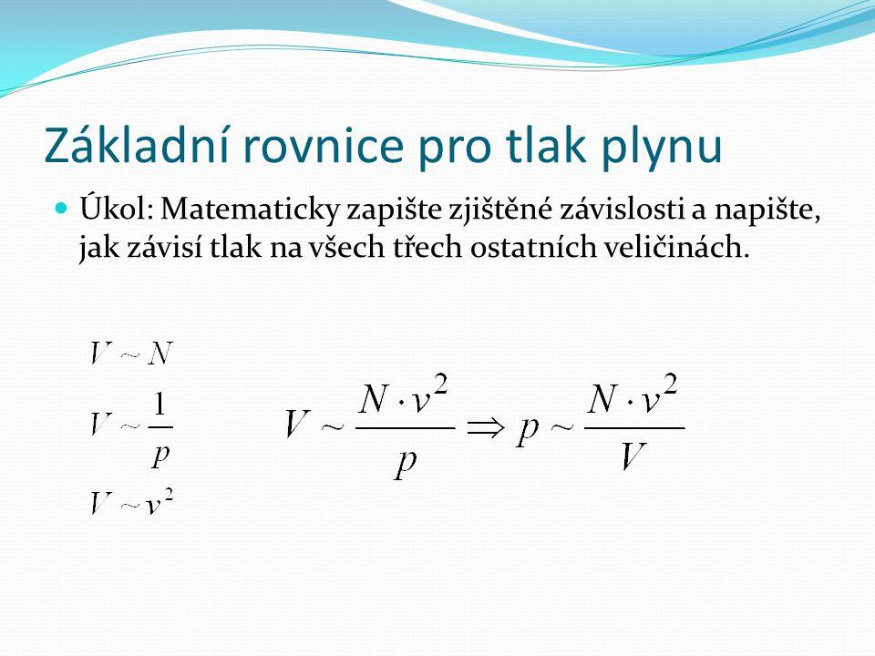 Základní rovnice pro tlak plynu Úkol: Matematicky zapište zjištěné závislosti a napište, jak závisí tlak na všech třech ostatních veličinách.