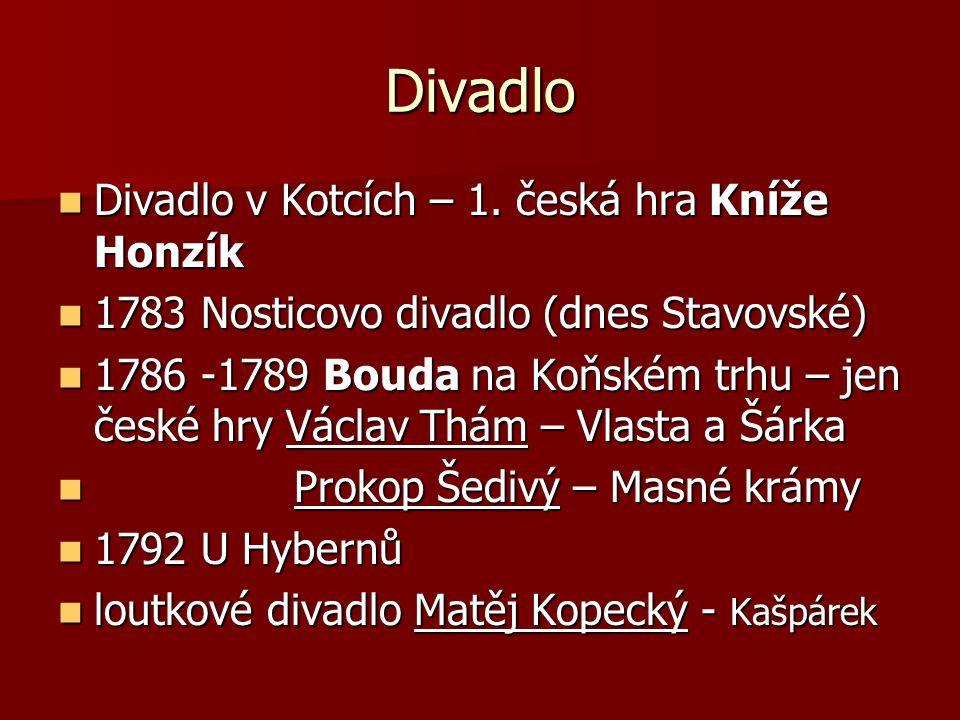 Divadlo Divadlo v Kotcích – 1. česká hra Kníže Honzík Divadlo v Kotcích – 1. česká hra Kníže Honzík 1783 Nosticovo divadlo (dnes Stavovské) 1783 Nosti