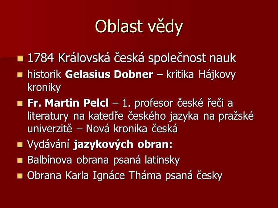 Oblast vědy 1784 Královská česká společnost nauk 1784 Královská česká společnost nauk historik Gelasius Dobner – kritika Hájkovy kroniky historik Gela