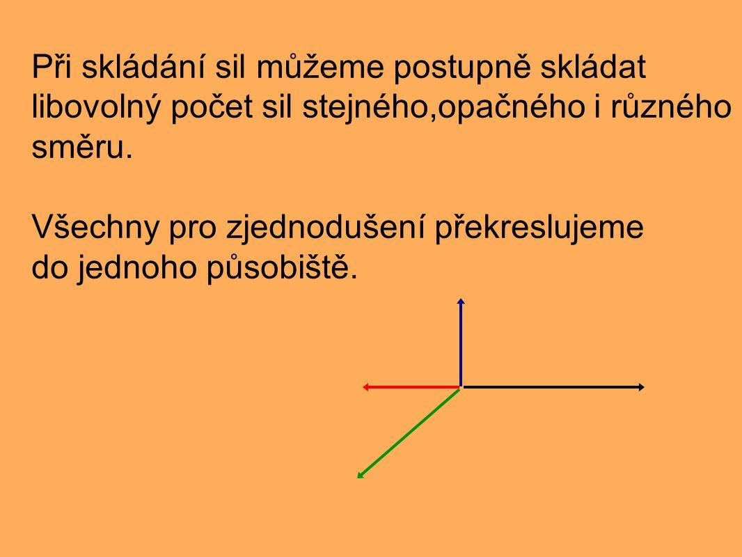 Při skládání sil můžeme postupně skládat libovolný počet sil stejného,opačného i různého směru. Všechny pro zjednodušení překreslujeme do jednoho půso