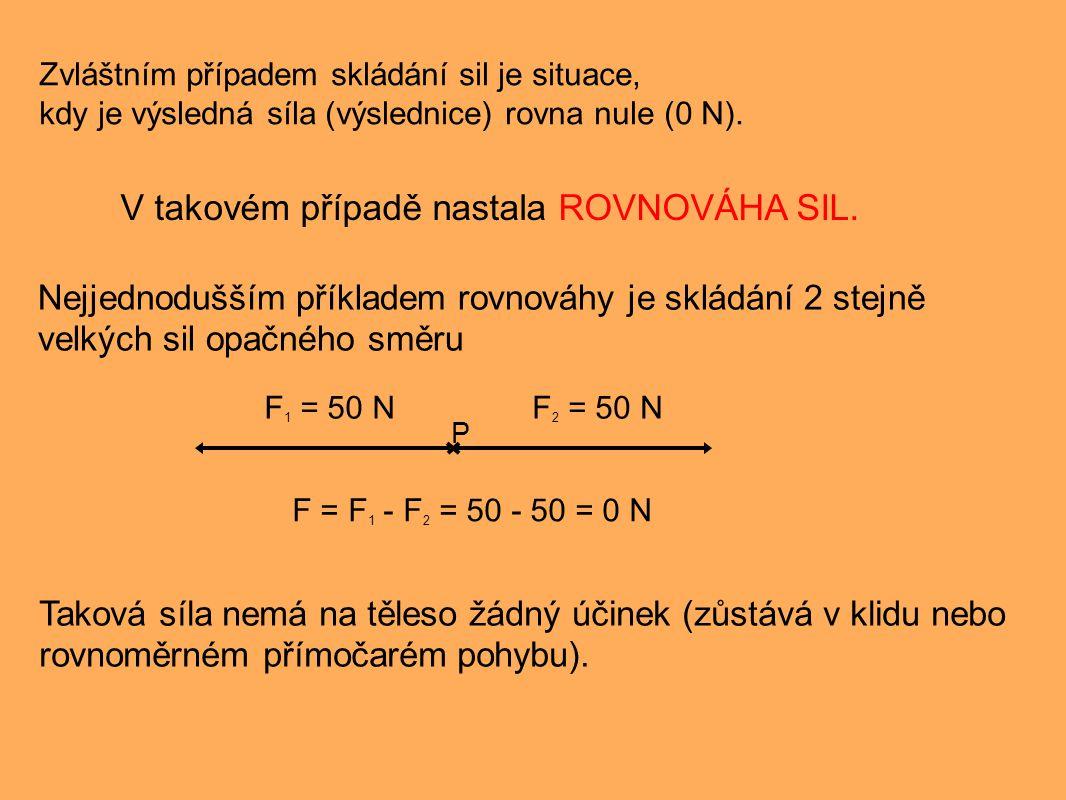 Zvláštním případem skládání sil je situace, kdy je výsledná síla (výslednice) rovna nule (0 N). V takovém případě nastala ROVNOVÁHA SIL. Nejjednodušší